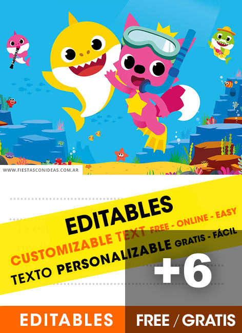 6  free baby shark pinkfong birthday invitations for edit  customize  print or send via