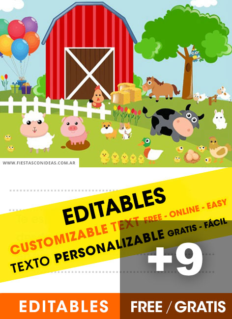 9 Free FARM ANIMALS Birthday Invitations For Edit Customize Print Or Send Via Whatsapp