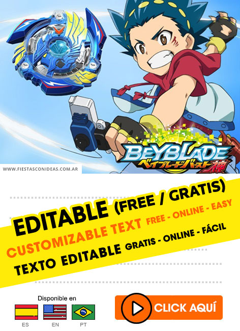 Invitation cards anniversary beyblade by 6 or 12