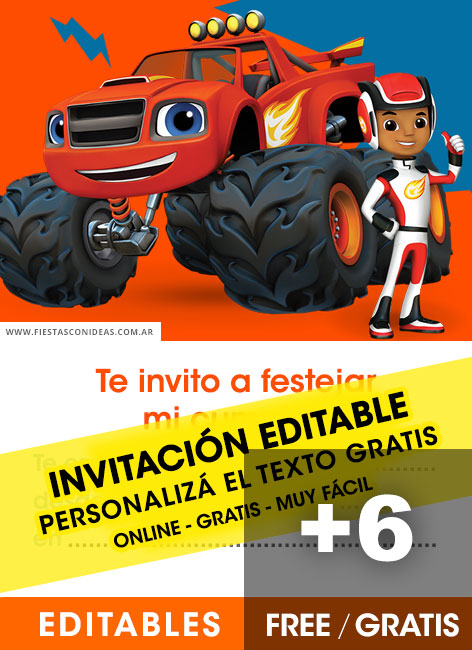 [+6] INVITACIONES de BLAZE and the monster machines GRATIS para editar, personalizar e imprimir