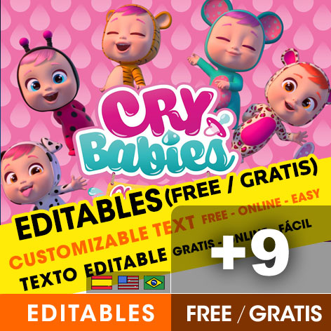 [+9] Free CRY BABIES birthday invitations for edit, customize, print or send via Whatsapp