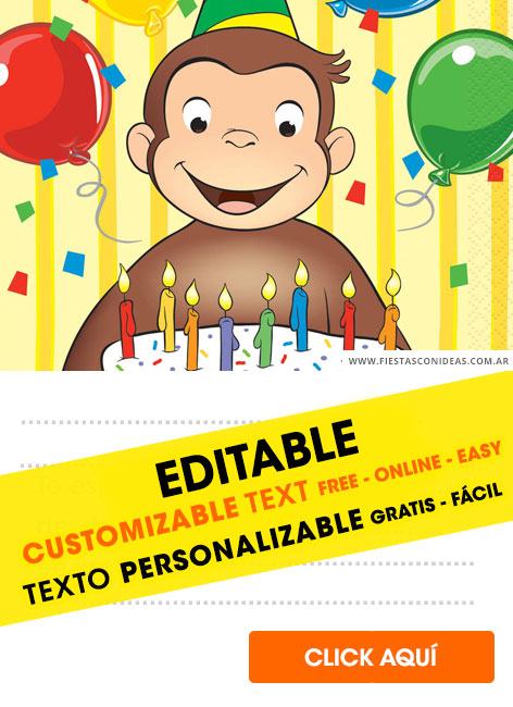 8 Free Curious George Birthday Invitations For Edit