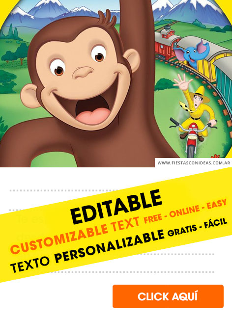 [+8] Free CURIOUS GEORGE birthday invitations for edit, customize, print or send via Whatsapp