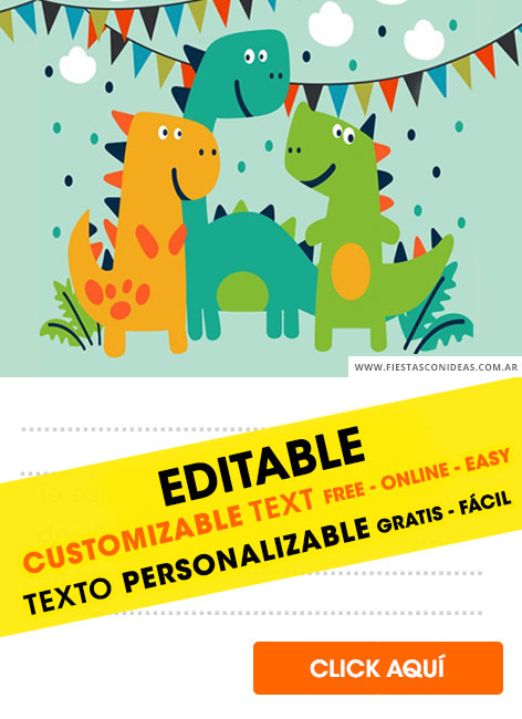 Dinosaurs for kids birthday invitation