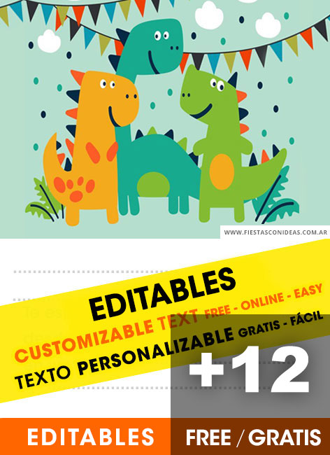 Free Dinosaurs for kids birthday invitations