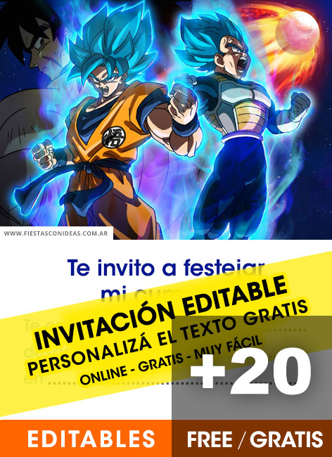 Free Dragon Ball birthday invitations