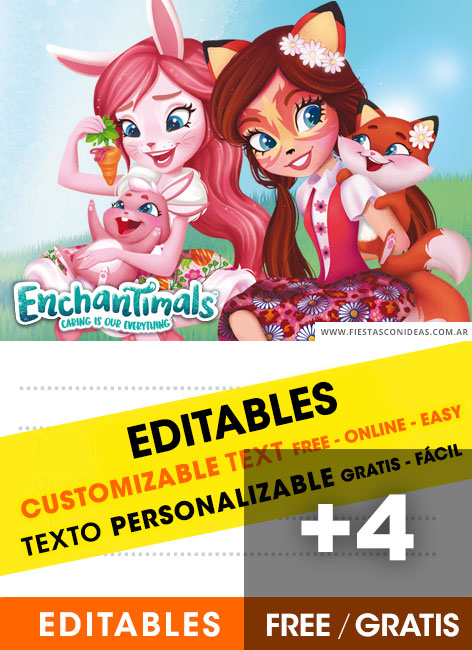 4 Free ENCHANTIMALS Birthday Invitations For Edit Customize Print Or Send Via Whatsapp
