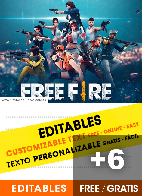 6 Free FREE FIRE BATTLEGROUNDS Birthday Invitations For Edit Customize Print Or Send Via Whatsapp