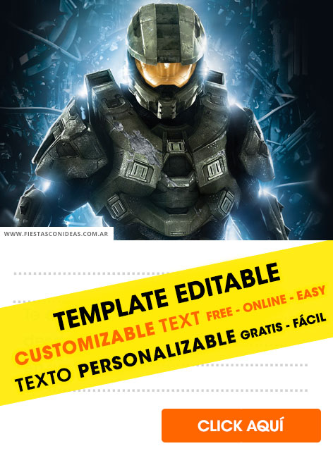 Halo Master Chief birthday invitation