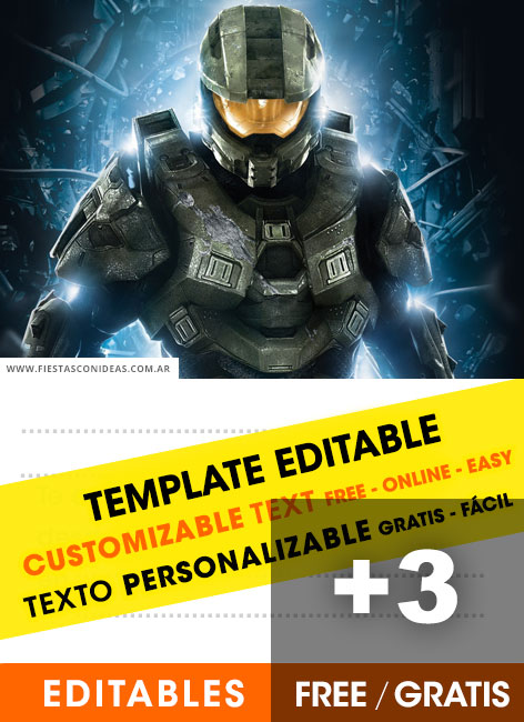 Free Halo Master Chief birthday invitations