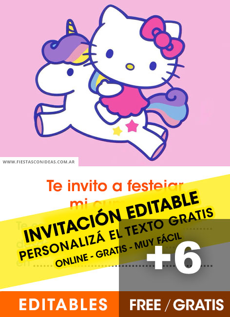 6 Invitaciones De Hello Kitty Gratis Para Editar