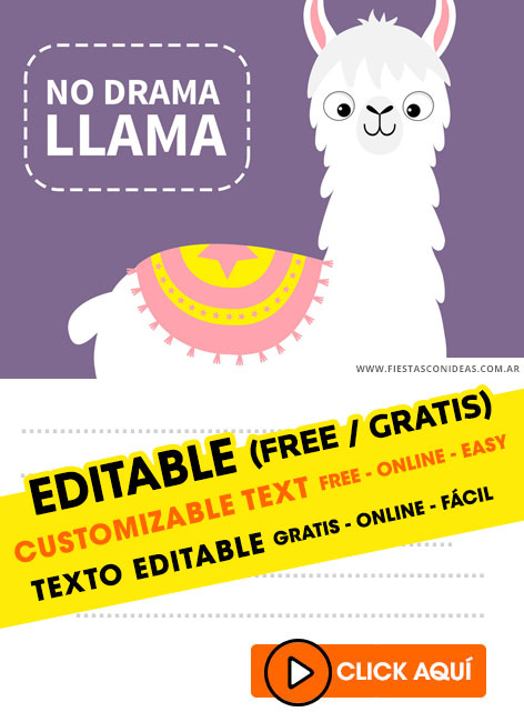 Llama Party birthday invitation