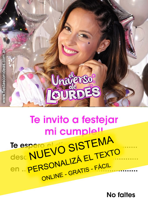 Free EL UNIVERSO DE LOURDES birthday invitations for edit, customize, print or send via Whatsapp