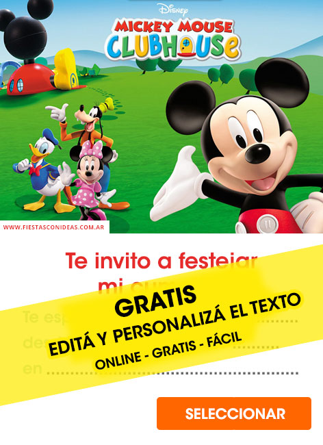 Invitaciones editables de Mickey Mouse