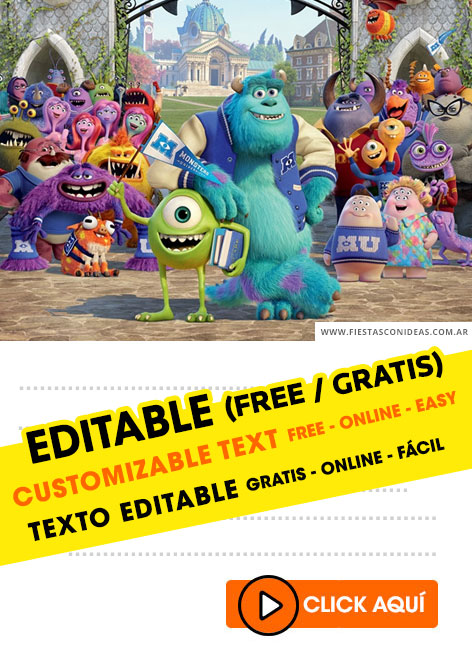 Monster University birthday invitation