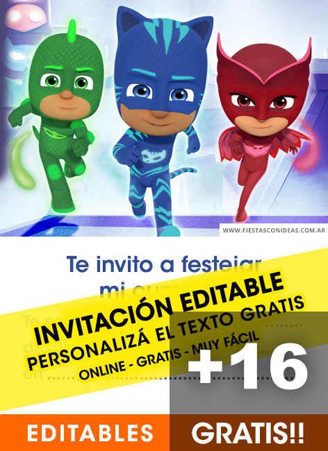 16 Free PJ MASK Birthday Invitation Template For Edit Customize Print Or Send Via Whatsapp