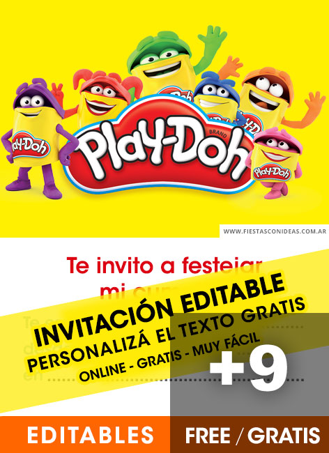 9 Free PLAY DOH Birthday Invitations For Edit Customize Print Or Send Via Whatsapp