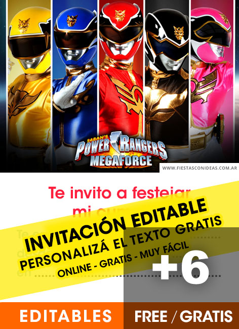 6 Free POWER RANGERS Birthday Invitations For Edit Customize Print Or Send Via Whatsapp