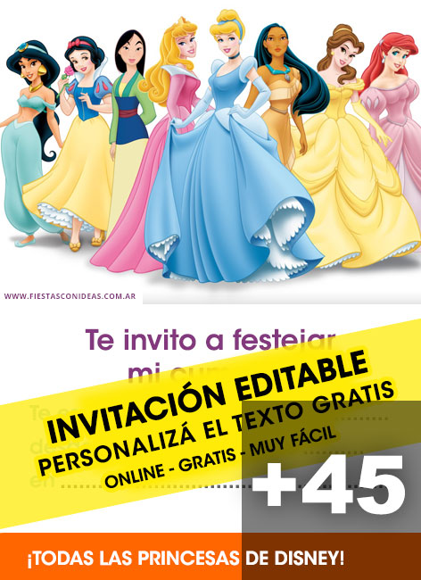 44 Free DISNEY PRINCESS Birthday Invitations For Edit Customize Print Or Send Via Whatsapp