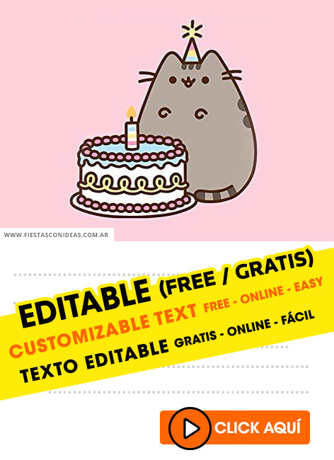 Pusheen Cat birthday invitation