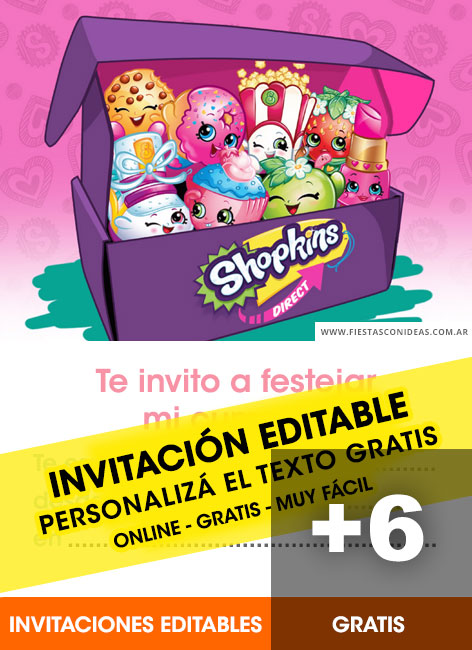 graphic about Shopkins Printable Invitations named Shopkins absolutely free birthday invitation templates - Fiestas con Designs