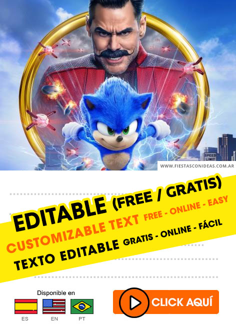 20 Free Sonic The Hedgehog Birthday Invitations For Edit Customize Print Or Send Via Whatsapp Fiestas Con Ideas