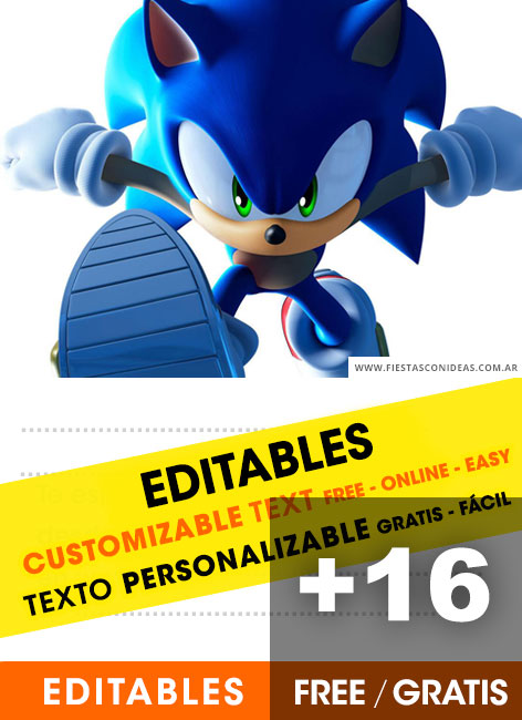 16 Free Sonic The Hedgehog Birthday Invitations For Edit Customize Print Or Send Via