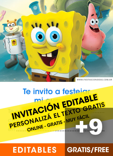9 Free SPONGEBOB Birthday Invitations For Edit Customize Print Or Send Via Whatsapp