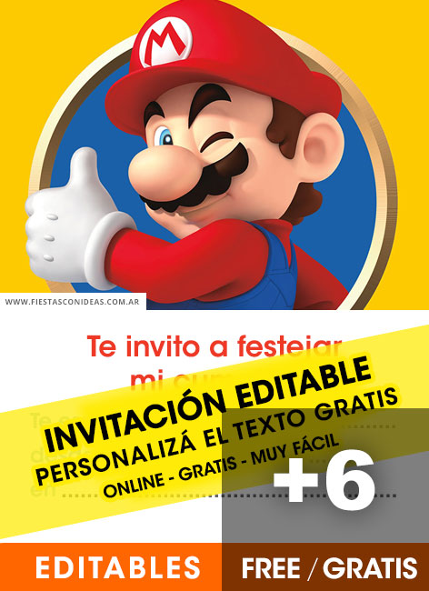 6 Free Super Mario Bros Birthday Invitations For Edit Customize Print Or Send Via Whatsapp Fiestas Con Ideas
