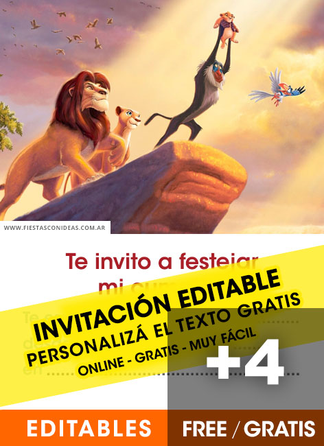 5 Invitaciones De El Rey Le 211 N The Lion King Gratis