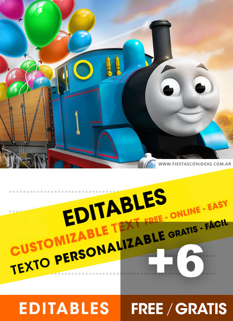 6 Free THOMAS AND FRIENDS Birthday Invitations For Edit Customize Print Or Send Via Whatsapp