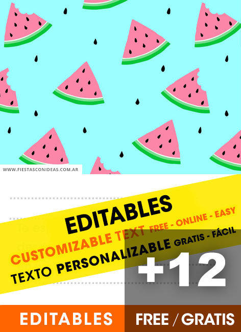 12 Free WATERMELON Birthday Invitation Template For Edit Customize Print Or Send Via Whatsapp