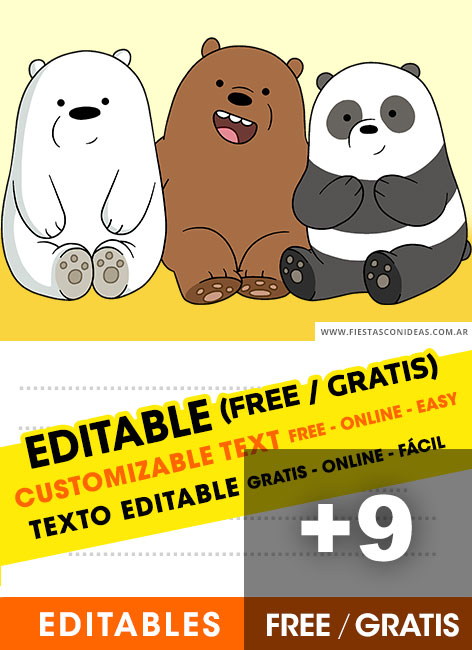 9 Free WE BARE BEARS Birthday Invitations For Edit