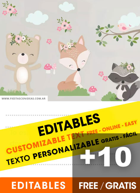 11 Free WOOLAND FOREST ANIMALS Birthday Invitations For Edit Customize Print Or Send Via Whatsapp