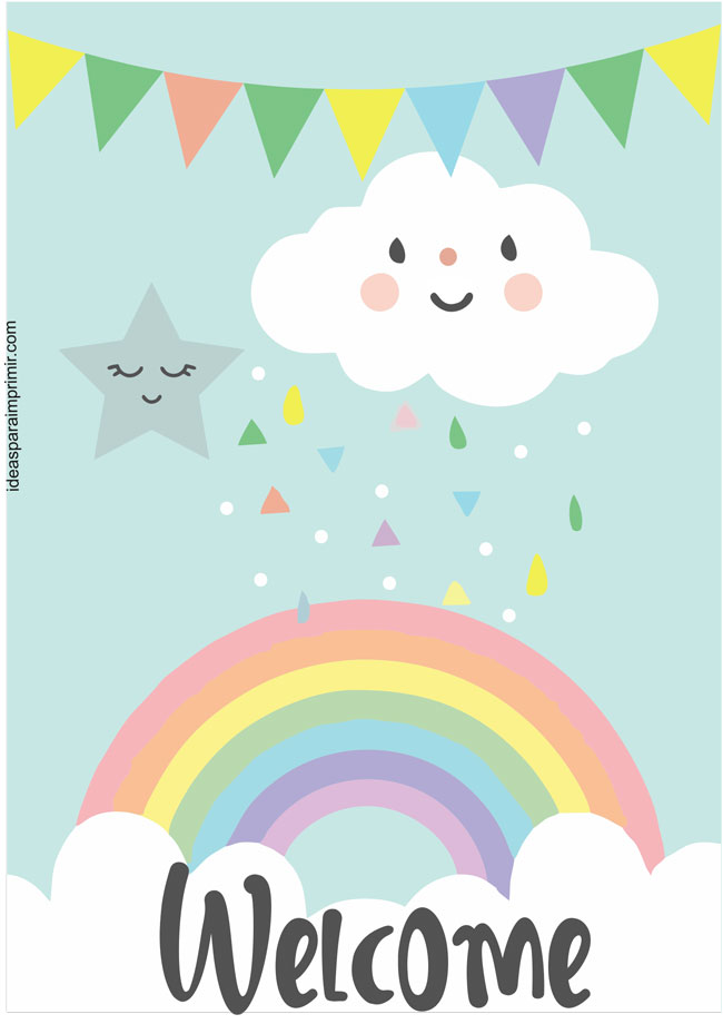 Rainbow Hearts Rain of love Welcome Sign Poster