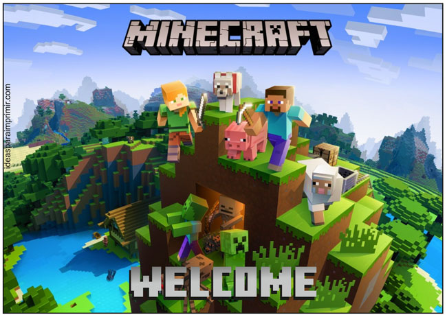 Minecraft Welcome Sign Poster
