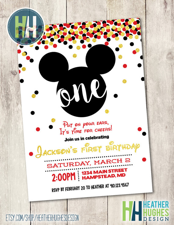 Mickey Mouse Etsy invitations