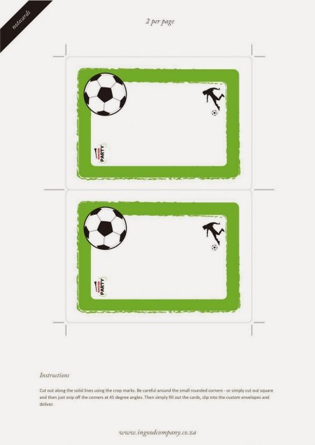 Free Printable Soccer Card