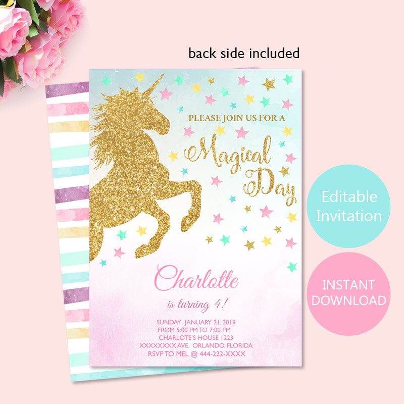 Magical Invitation for Unicorn Birthday