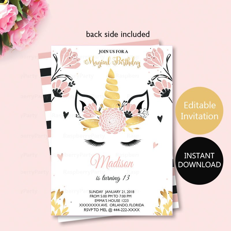 black and pink unicorn invitation