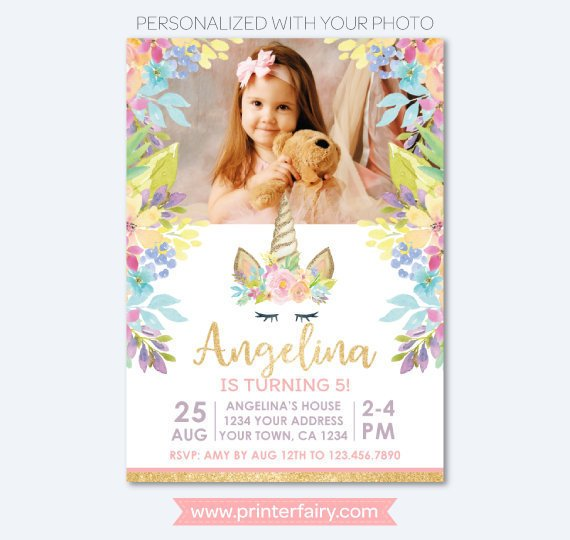 Unicorn Birthday Invitation for Horizontal Photo, Magical Unicorn Birthday Party