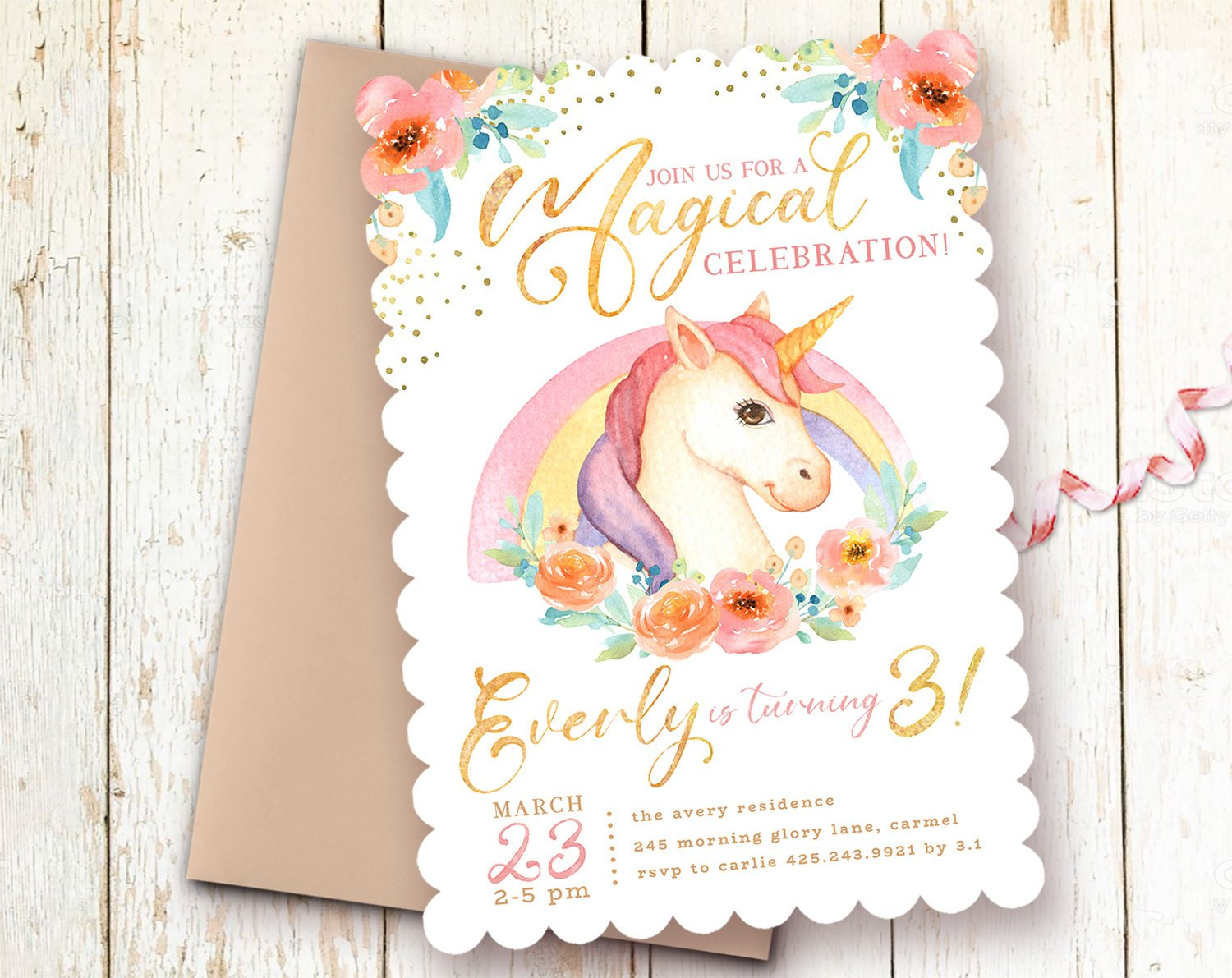 Rainbows Unicorns Birthday Invitations Girl