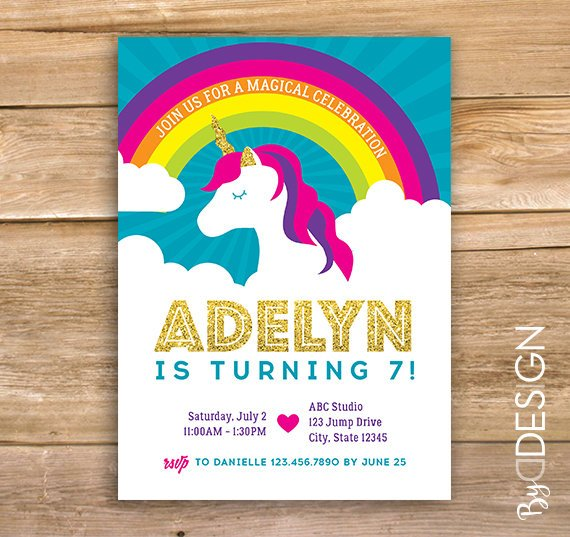 Unicorn birthday invite, rainbow, glitter, heart