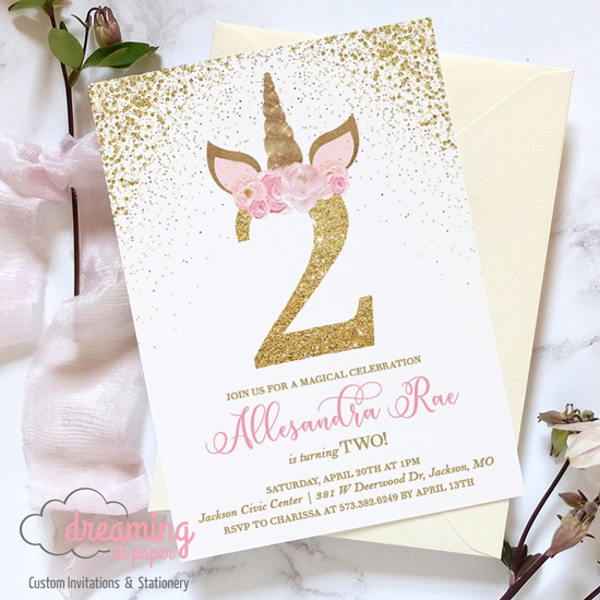 Unicorn Gold and Pink Floral Birthday Invitation